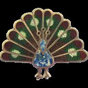 Vintage Sterling Enamel Peacock Pendant/Brooch
