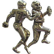 Vintage Sterling Football Players Pendant or Brooch Pin
