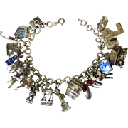 Loaded Vintage Sterling European Theme Movable and Enamel Charm Bracelet