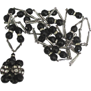 Fabulous Faceted Black Glass Bead Cluster Necklace with Rhinestone Rondells- 60 Inches!