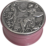 Lovely English Sterling Leather Box with Artistic Fairy