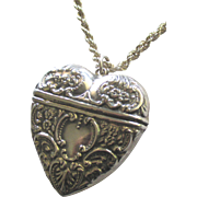 Beautiful Large Sterling Repousse Heart Box Pendant and Chain