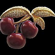 Singed Joan Rivers Cherries Brooch- Book Piece