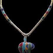 Vintage Zuni Sterling Inlaid Bear Fetish Necklace