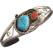 Vintage Navajo Sterling Turquoise Coral Bracelet with Feather