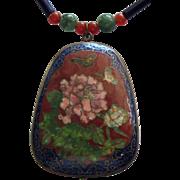 Large Vintage Floral Cloisonne Pendant Necklace