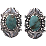 Vintage Signed Navajo Sterling Turquoise Pierced Earrings