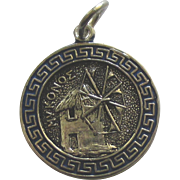 Vintage Enamel 800 Silver Mykonos Greece Charm