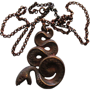 Vintage Large Copper Snake Pendant with Chain