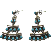Vintage Taxco Sterling Turquoise Tiered Pierced Earrings