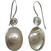 Lovely Sterling Mabe Blister Pearl Pierced Earrings