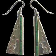 Navajo Sterling Malachite Kokopelli Pierced Earrings