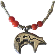 Vintage Navajo Sterling Turquoise Coral Bear Necklace