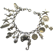 Vintage Sterling Hawaii Theme Charm Bracelet