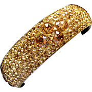 Sparkling Gold Rhinestone Pave Bangle Bracelet