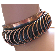 Vintage Signed Renoir Cuff Bracelet with Dimensional Coil