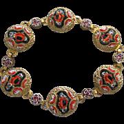Ornate Italian Micro Mosaic Floral Bracelet