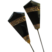 Art Deco Black Crystal Stick Pins- Set of 2