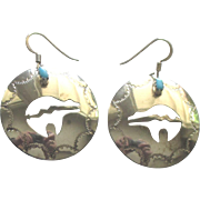 Vintage Navajo Sterling Cut Work Bear with Turquoise Pierced Earrings
