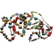 Colorful Vintage Sterling Gemstone Pearl Necklace