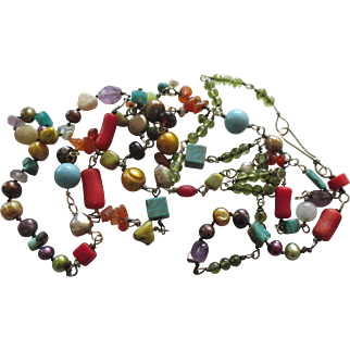 Colorful Vintage Sterling Gemstone Pearl Necklace