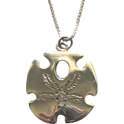Lovely Sterling Diamond Sand Dollar Pendant with Chain