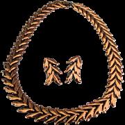 Vintage Signed Renoir Copper Necklace and Earrings Demi Parure