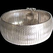 Stunning Italian Sterling Wide Herringbone Link Bracelet
