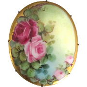 Lovely Hand Painted Roses Porcelain Brooch