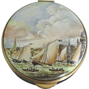English Staffordshire Royal Thames Yacht Club Porcelain Box