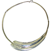 Vintage Italian Sterling Swirled Choker Necklace