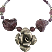 Estate Amethyst Glass Bead Necklace with Dimensional Rose