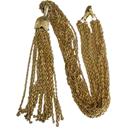 Glamorous Vintage Trifari Long Tassel 10 Chain Necklace