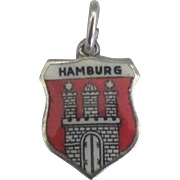 Vintage Enamel 800 Silver Hamburg Travel Shield Charm