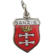 Vintage Enamel 800 Silver Danzig Travel Shield Charm