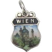 Vintage Enamel Sterling Wien Vienna Austria Travel Shield Charm