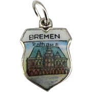 Vintage Enamel 800 Silver Bremen Germany Travel Shield Charm