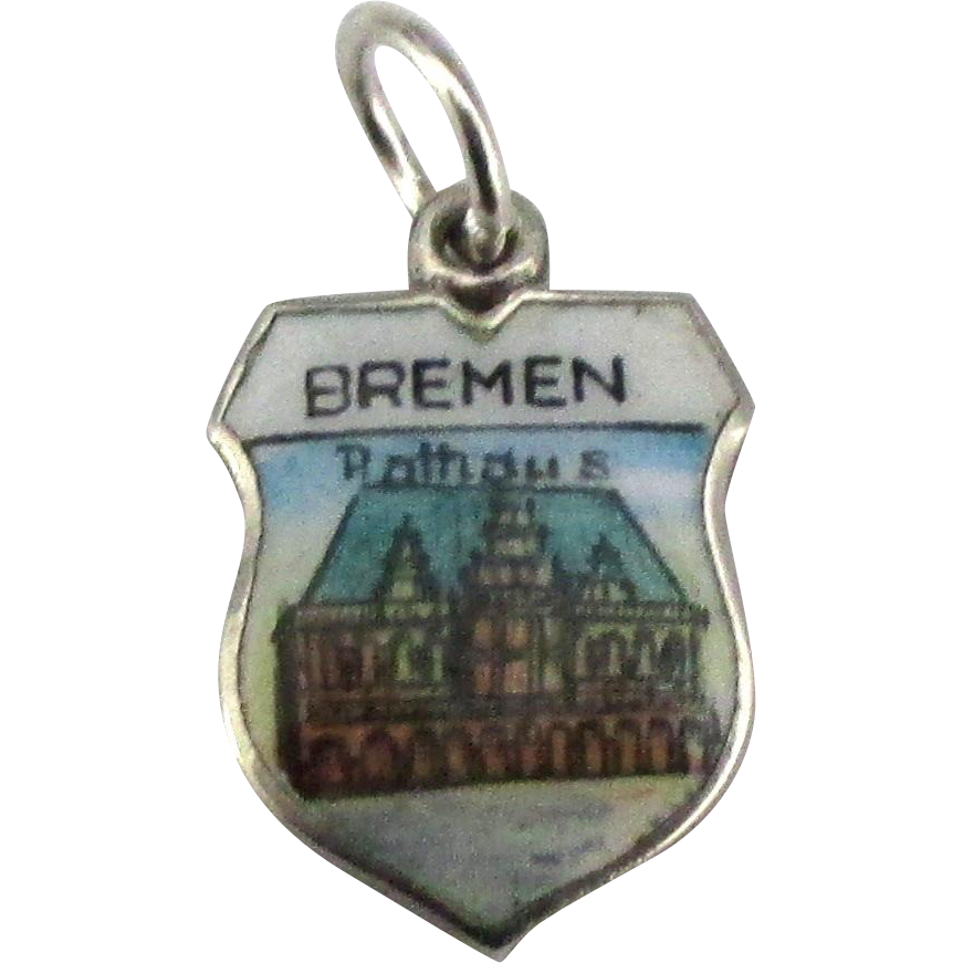 Vintage enamel 800 silver bremen germany travel shield for Jewelry making classes san diego