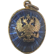 Vintage Deep Blue Guilloche Austrian-Hungarian Egg Pendant
