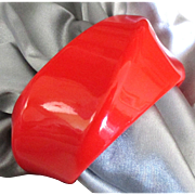 Chunky Vintage Orange Red Plastic Bangle Bracelet