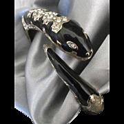 Vintage Enamel Rhinestone Snake Clamper Bracelet