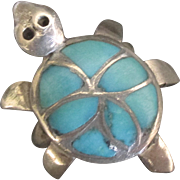 Vintage Navajo Sterling Turquoise Turtle Ring- Size 7