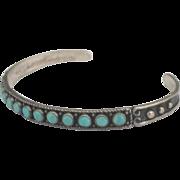 Vintage Navajo Sterling Turquoise Cuff Bracelet