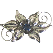 Lovely Vintage Sterling Floral Brooch with Cobalt Blue Glass
