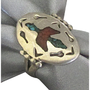 Vintage NA Signed Sterling Thunderbird Ring-Size