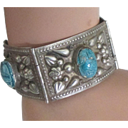 1930's Wide Sterling Egyptian Faience Scarab Bracelet