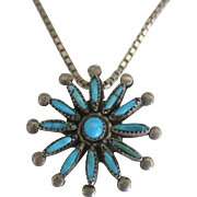 Vintage NA Zuni Sterling Turquoise Pendant and Chain