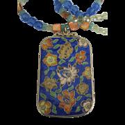 Large Vintage Floral Cloisonne Enamel Pendant Necklace