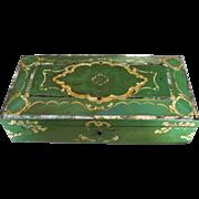 English 1800's Jennens and Bettridge Papier Mache Inlayed Dresser Box
