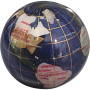 Estate Inlaid Mineral World Globe Paperweight